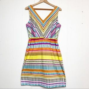 London Times Multi-color patterned sheath dress